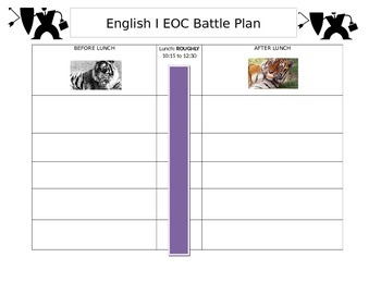 STAAR English EOC Battle Plan Template for Students
