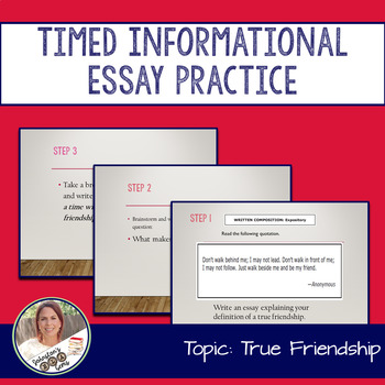 STAAR English I EOC 11 Minute Essay Expository Practice- Friendship