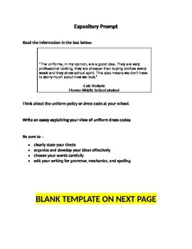 STAAR Expository Essay Prompt Writing Template With Example Prompt