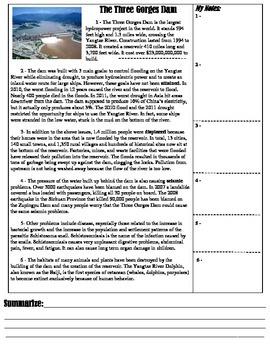 "STAAR Expository Reading Practice; ""Three Gorges Dam"""