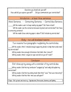 STAAR Expository Writing: Kid Friendly Essay Checklist