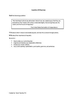 STAAR Formatted Expository Essay Writing Prompts