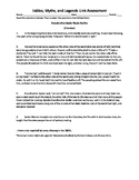 STAAR Formatted Fables and Myths unit assessment-Grade 4