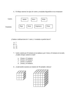 STAAR Formatted Word Problems Spanish 4th grade