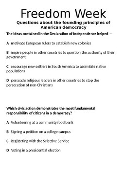 11th grade STAAR-Freedom Week-MC questions