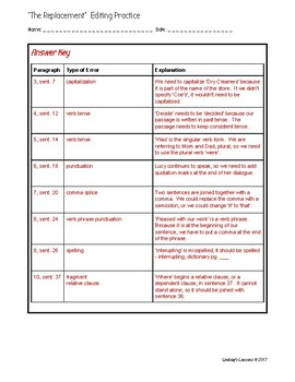 """STAAR Grade 7 Editing Practice - Goes with 2015 """"The Replacement"""""""