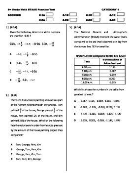 STAAR MATH 8 Category 1 TEST