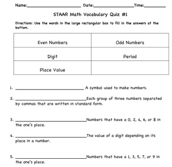STAAR Math 3rd Grade Vocabulary Quizzes (3-5)