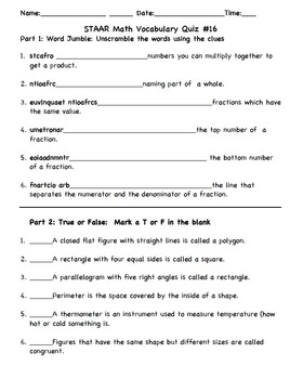 STAAR Math 3rd Grade Vocabulary Quizzes (3-5)