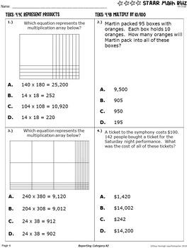 STAAR Math Blitz Reporting Category #2: Computations & Algebra 4th Grade TEKS