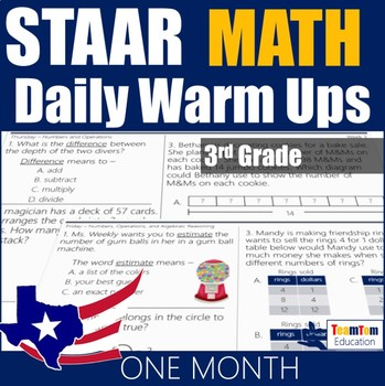 STAAR Math Daily Warm Ups Grade 3 Set #1