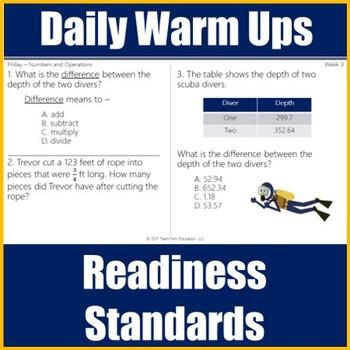 STAAR Math Daily Warm Ups Grade 5 Set #1