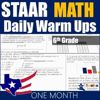 STAAR Math Daily Warm Ups Grade 6 Set #1