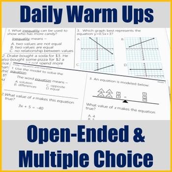 STAAR Math Daily Warm Ups Grade 7 Set #1