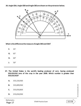STAAR Math Grade 4 Practice Test