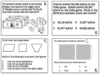 STAAR Prep Math Practice Task Cards (4th Grade)  TEKS Based