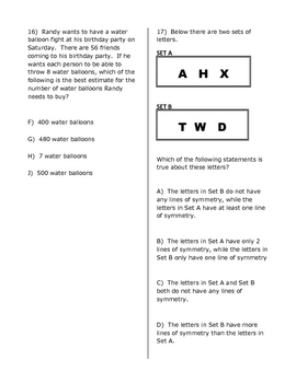 STAAR Math Practice Test 4th Grade