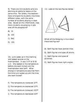 STAAR Math Practice Test 4th Grade #2