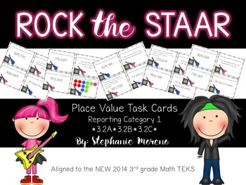 STAAR Math Test Prep Reporting Category 1 3rd Grade Task Cards