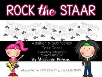 STAAR Math Test Prep Reporting Category 2 3rd grade Task Cards