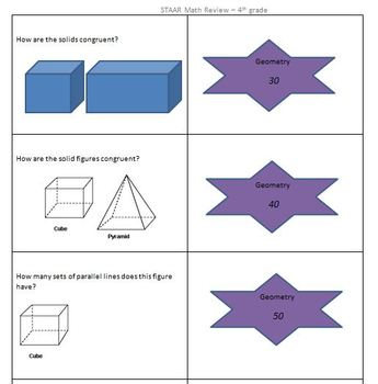 STAAR Math Review Cards- 4th grade game