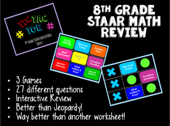STAAR Math Review Game - 8th Grade