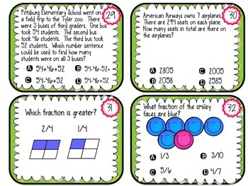 STAAR Math Review Grade 3-Task Cards Around the Room