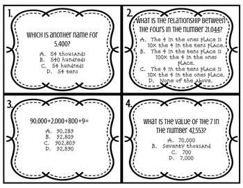 STAAR Math Review Task Cards- Number and Operations 3.2