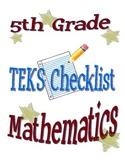 STAAR Math TEKS Checklist (5th Grade) - OLD TEKS