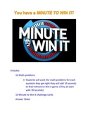 Math Game- End of Year Math Test Review- Minute to Win It Theme