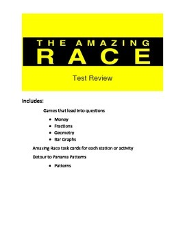 Math Game- End of Year Math Test Review- Amazing Race Theme 2nd set of concepts