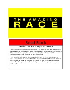 Math Game- End of Year Math Test Review- Amazing Race Theme