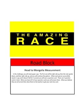 Math Game- End of Year Math Test Review-Amazing Race Theme-5 new concepts 4th