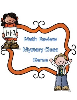 Math Game- End of Year Math Test Review Mystery Clues Game