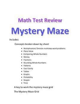 Math Game- End of Year Math Test Review Maze Mystery- 3rd grade