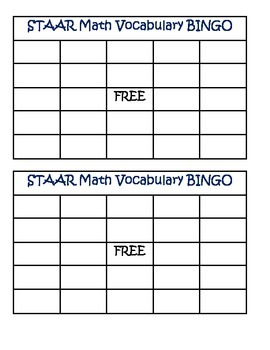 STAAR Math Vocabulary BINGO 3rd Grade Card Set 1 (3-5)