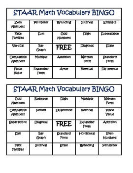 STAAR Math Vocabulary BINGO 3rd Grade Card Set 1 (3-5) by the ...