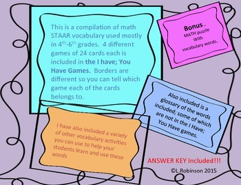 STAAR Math Vocabulary Review; I Have, You Have Games; 5-6th Grade