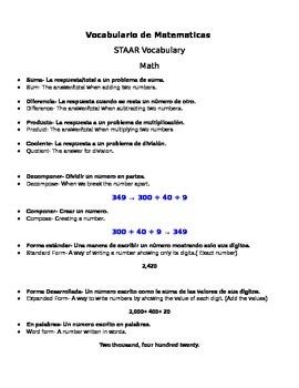 STAAR Math Vocabulary Study Sheet (Spanish and English)