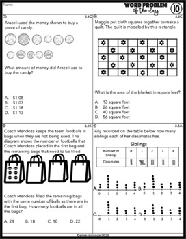 STAAR Math Word Problem Spiral -Part 2