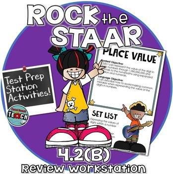 STAAR Math Work Station Review Activity TEKS 4.2B