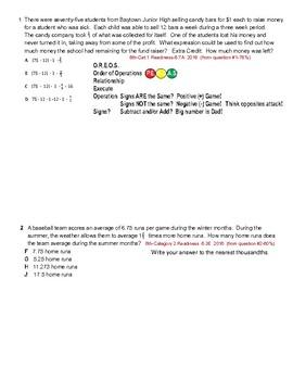 STAAR Mathematics 6th Grade Weak Objectives Practice