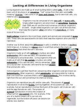 STAAR Organisms Review booklet
