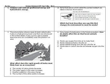 5th Grade Science STAAR Packet #9