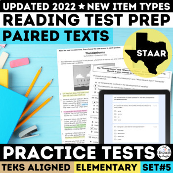 STAAR Paired Passages Practice Tests Grade 3 5
