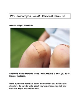 STAAR Personal Narrative writing prompt