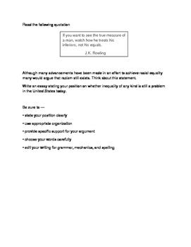 STAAR Persuasive Essay Inequality