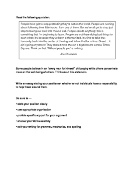 STAAR ENGLISH II Persuasive Essay Prompt Responsibility
