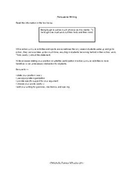 STAAR Persuasive Writing Prompt # 1
