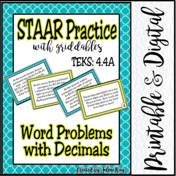 STAAR Practice 4.4A with Griddables: Addition and Subtraction with Decimals